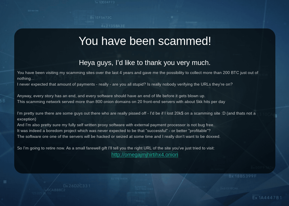 a picture of Alleged Darknet Market Phisher Announces Retirement