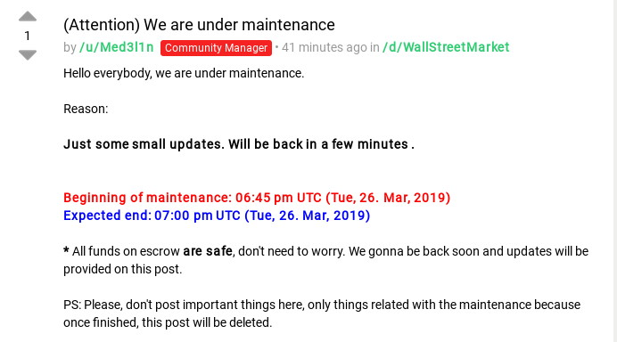 Wallstreet Market Maintenance Post