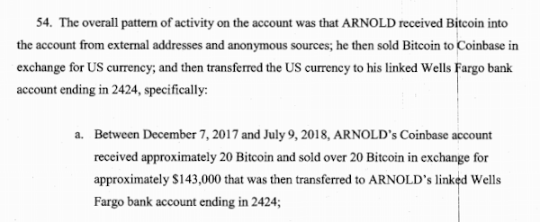 Arnold and his co-conspirators used Coinbase