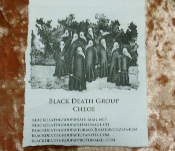 A Page with the Black Death Group's Contact Info
