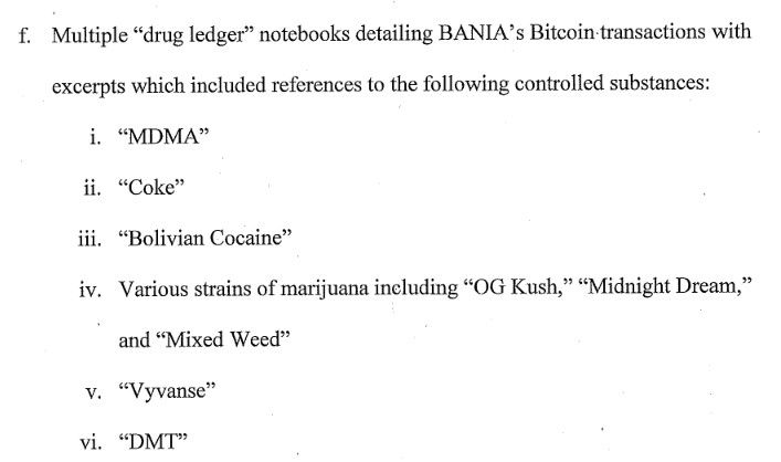 A Court Document Describing Bania's 'Drug Ledger'