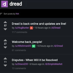 Dark Mode on the Dread Homepage
