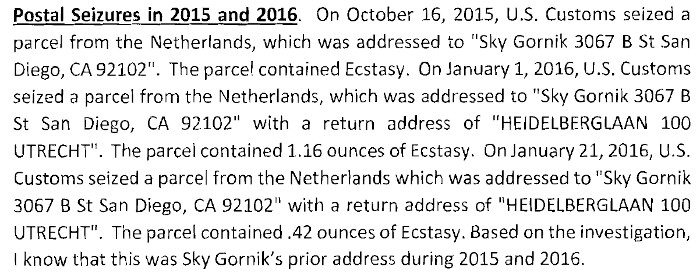 Court Documents Show Gornik's Seized Packages