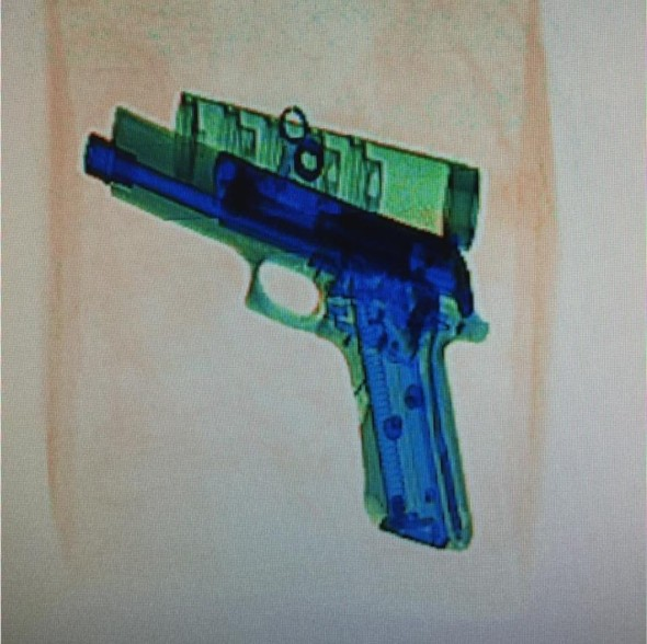 A Picture of a Gun in a Customs Scanner