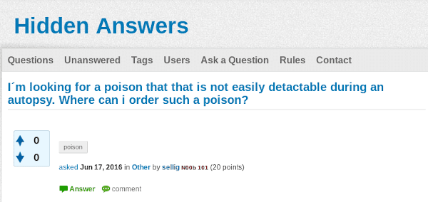 The  question posted by the suspect on Hidden Answers