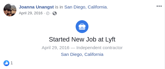 A Facebook status where De Alba posted about working at lyft