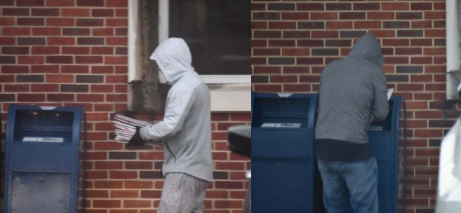 Law enforcement observed Burgamy walking with what appeared to be USPS envelopes