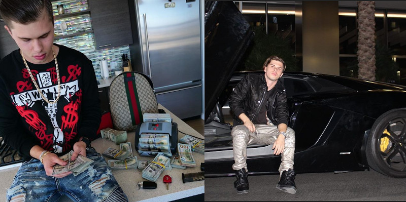 Wyatt Pasek poses with cash and a rental supercar