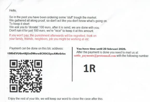 A letter received days three days ago by a user of Apollon Market