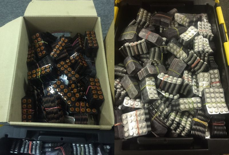 More Boxes of Pills Seized by HSI and USPIS | Credit: rrspin