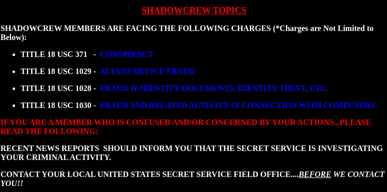 The Warning Uploaded to Shadowcrew.com by the Secret Service