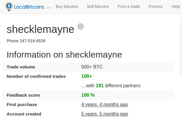 Using the name shecklemayne, Kalra transacted more than 500 Bitcoin according to his LocalBitcoins profile.