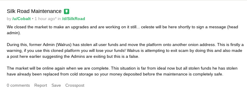 An Update from Silk Road 3.1 on Current Events Involving the Marketplace