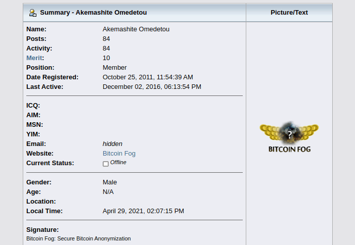 A picture of The BitcoinTalk.org account allegedly owned by Sterlingov.