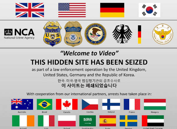 A picture of The seizure banner displayed on the Welcome to Video onion service