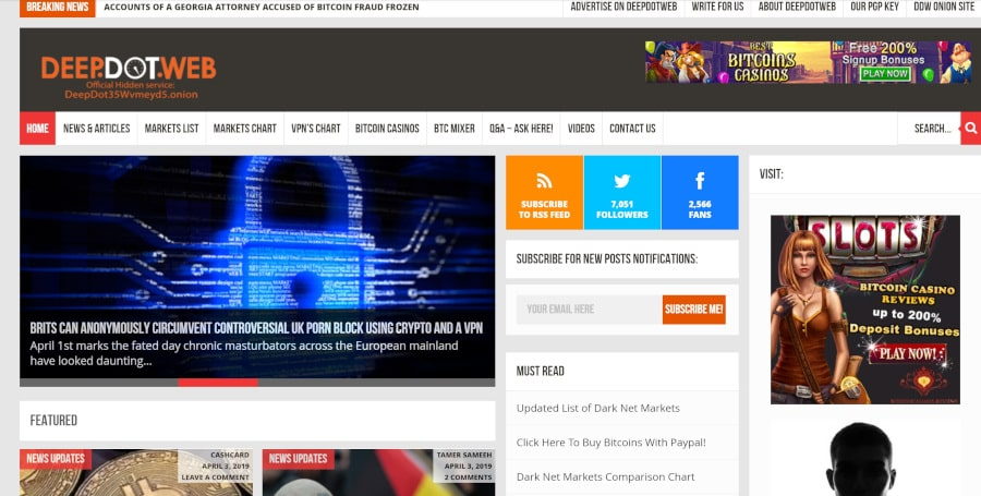 A picture of DeepDotWeb provided news about darkweb cases as well as links to markets and forums