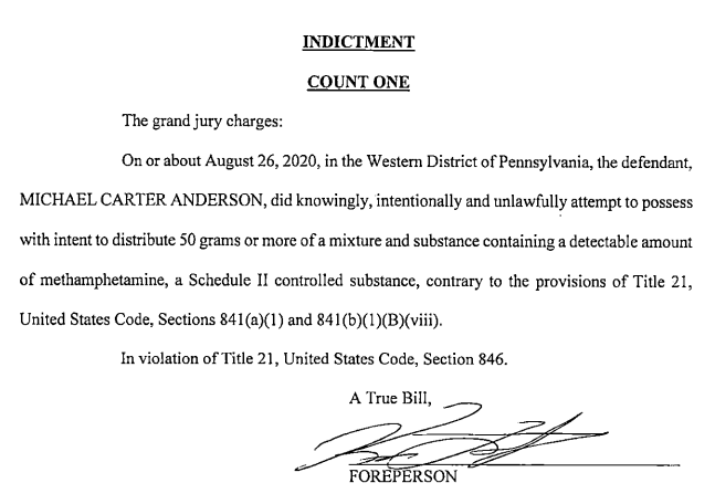 A picture of The indictment contained very little information about the case