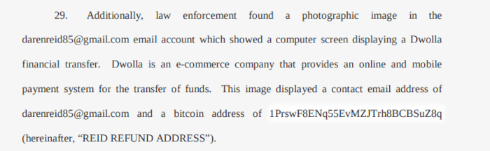 A picture of The Bitcoin address listed in court documents is not valid.