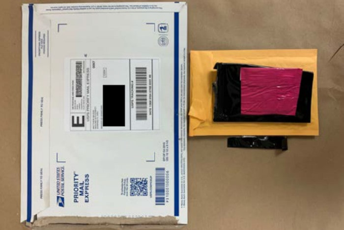 A picture of One of the many packages seized during the investigation.