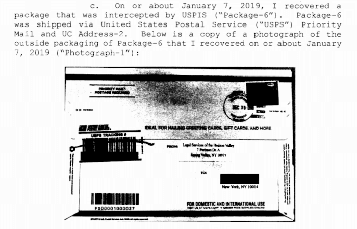 A picture of A letter seized by the United States Postal Inspection Service