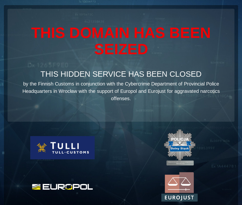 A picture of Europol provided assistance by hosting a seizure banner