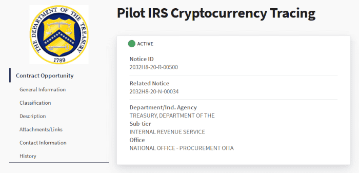 A picture of A screenshot of the IRS proposal request