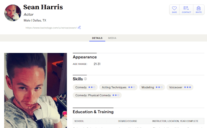 A picture of Sean Harris considered himself an actor apparently.