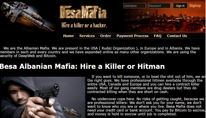 A picture of The Besa Mafia homepage featured outlandish claims about the network of hitmen