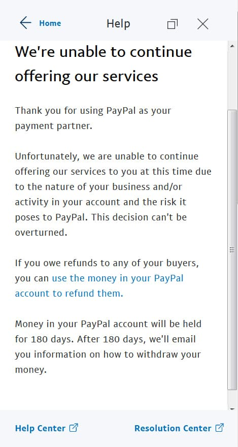 A picture of screenshot of Paypal
