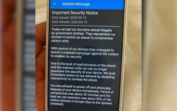 A picture of A security bulletin sent by EncroChat after police deployed their malware on EncroChat servers.