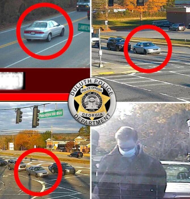 A picture of You can tell which car belonged to Roberts because the Duluth Police Department circled it in red.