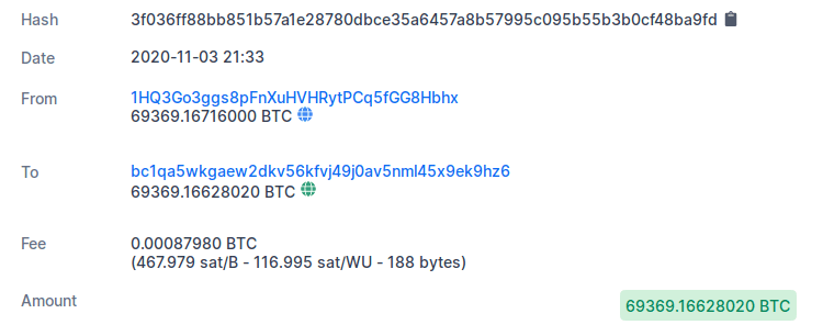 A picture of More than 69,369 Bitcoins were transferred from a Silk Road-linked Bitcoin address