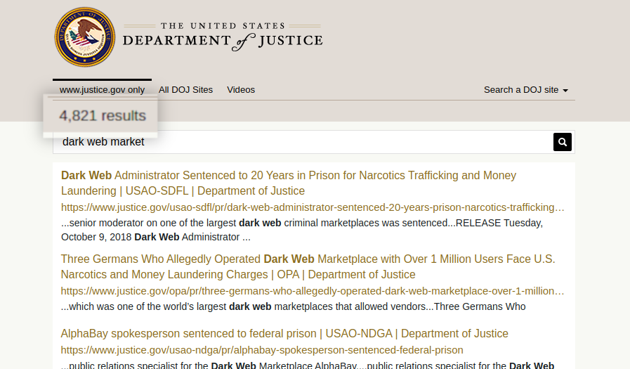 A picture of A search of the Department of Justice website yields thousands of results related to darkweb markets.