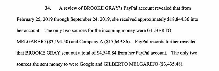 A picture of Between February and September 2019, Gray received more than $18,000.