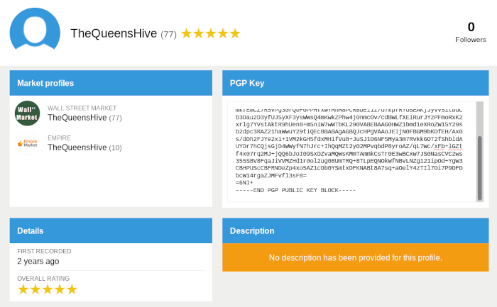 A picture of TheQueensHive had profiles on Empire and Wall Street Market | Recon
