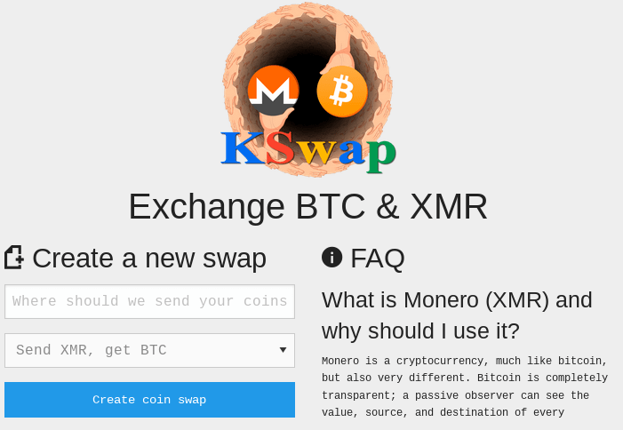 A picture of The creator of the Kilos search engine has an exchange service similar to XMR.to
